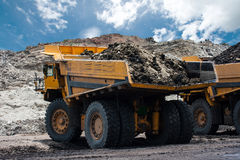 Mining truck. Big yellow mining truck at work site Royalty Free Stock Photography
