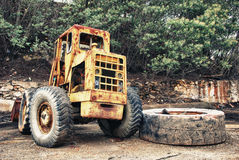 Mining truck and large tire Stock Images