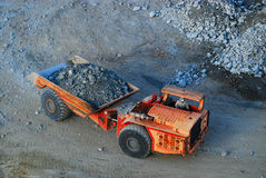 Mining truck. An underground mining truck coming outside with fresh ore Stock Photo
