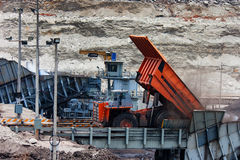 Mining truck unload coal Royalty Free Stock Images