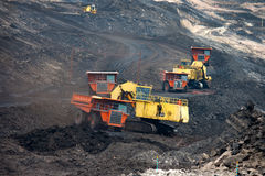 Mining truck unload coal Royalty Free Stock Image