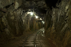 Mining tunnel. Underground tunnel in a copper mine Royalty Free Stock Photos