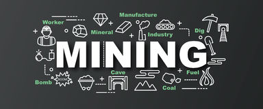 Mining vector trendy banner Royalty Free Stock Photography
