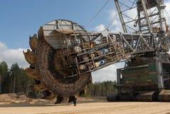 Mining wheel of coal digger stock photos