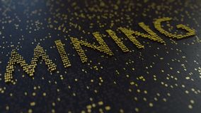 Mining word made of moving golden numbers. Cryptocurrency related conceptual animation
