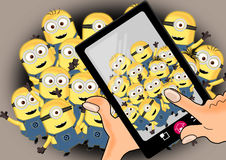 Minions on crowd Royalty Free Stock Images
