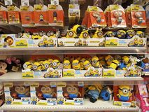 Minions in the toys area of an supermarket in BUCHAREST, ROMANIA - NOVEMBER 07, 2015. Stock Image
