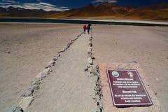 Miniques湖的游人 Los佛拉明柯舞曲国家储备 安托法加斯塔地区 智利 免版税库存照片