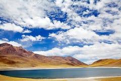Miniques盐水湖在阿塔卡马沙漠,智利 库存图片