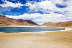Miniques lagun i den Atacama öknen, Chile Arkivfoton