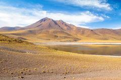 Miniques laguna i wulkan - Atacama pustynia, Chile Obraz Royalty Free