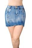 Minirock des blauen Baumwollstoffs Lizenzfreie Stockfotos