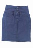 Minirock des dunkelblauen Baumwollstoffs lokalisiert auf weißem Hintergrund Stockbilder