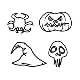 Minisatz grafischer Ikonen Halloweens lizenzfreies stockfoto