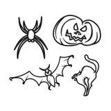 Minisatz grafischer Ikonen Halloweens stockfoto