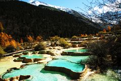 Miniscape ponds in Huanglong. Colorful calcified miniscape ponds in Huanglong area. It is the world natural heritage in China Stock Images