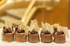 Minischokoladenkuchen Köstliche Minikuchen Vielzahl von süßen Mininachtischen stockfotos