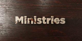 Ministères - titre en bois sale sur l'érable - image courante gratuite de redevance rendue par 3D illustration libre de droits