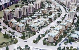 Ministadt - Minibaumuster der neuen Gebäude stockfoto