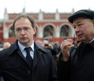 Minister av kultur från den ryska federationen Vladimir Medinsky och Kaluga regionregulator Anatoly Artamonov på öppningen av Arkivfoton