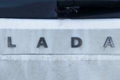 minister Białoruś Styczeń 13, 2019 na samochodzie biała kolor inskrypcja Lada samochód no jest zupełnie czysty tam jest brudu na obraz royalty free