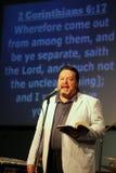 Minister Blaine Bowman preaching. Royalty Free Stock Photo