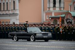The Minister of defence of Russia Sergey Shoigu, the parade devoted to the Victory Day at the dress rehearsal. MOSCOW, RUSSIA - MAY 6, 2018: The Minister of Stock Photo