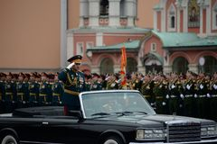The Minister of defence of Russia Sergey Shoigu, the parade devoted to the Victory Day at the dress rehearsal. MOSCOW, RUSSIA - MAY 6, 2018: The Minister of Stock Image