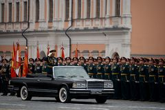The Minister of defence of Russia Sergey Shoigu, the parade devoted to the Victory Day at the dress rehearsal. MOSCOW, RUSSIA - MAY 6, 2018: The Minister of Royalty Free Stock Image