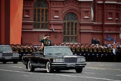 The Minister of defence of Russia Sergey Shoigu, the parade devoted to the Victory Day at the dress rehearsal. MOSCOW, RUSSIA - MAY 6, 2018: The Minister of Royalty Free Stock Photos