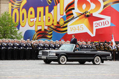 Minister of defense A.Serdyukov stands in car Royalty Free Stock Photos