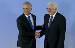 Minister Dr Frank-Walter Steinmeier welcomes Didier Burkhalter Royalty Free Stock Images