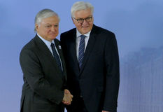 Minister Dr Frank-Walter Steinmeier welcomes Edward Nalbandian Royalty Free Stock Photography