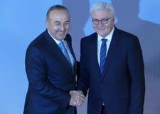 Minister Dr Frank-Walter Steinmeier welcomes Mevlut Cavusoglu Stock Image