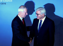 Minister Dr Frank-Walter Steinmeier welcomes Stephane Dion Stock Image
