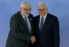 Minister Dr Frank-Walter Steinmeier welcomes Witold Waszczykowski Royalty Free Stock Photography