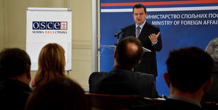 Minister of Foreign Affairs of Republic of Serbia Ivica Dacic. Belgrade, Serbia - November 1, 2014: Minister of Foreign Affairs of Republic of Serbia Ivica Dacic stock photos