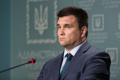 Minister of Foreign Affairs of Ukraine Pavlo Klimkin. KIEV, UKRAINE - Jun 15, 2017: The Minister of Foreign Affairs of Ukraine Pavlo Klimkin during a briefing in Royalty Free Stock Image