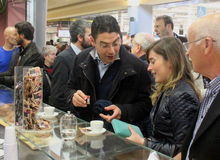 Minister Maria Elena Boschi, coffee break Stock Photography