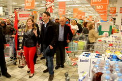 Minister Maria Elena Boschi, at the supermarket Royalty Free Stock Photo