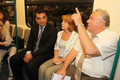Minister Moskovski, the Mayor Yordanka Fandakova and Eng. Stoyan Bratoev traveled in Sofia subway, metro. Minister Moskovski, the Mayor Yordanka Fandakova and royalty free stock photo