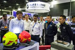 Minister Ng Chee Meng visiting booths at the Aviation Open House Stock Image