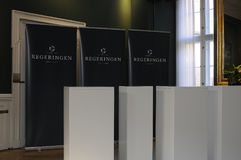 MINISTER PRESSEKONFERENZ DES GELENK-VIER Stockbilder