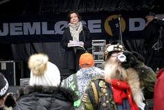MINISTER SPRICHT AN HOMLESS-TAG Lizenzfreies Stockbild