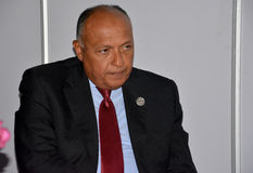 Minister van Buitenlandse zaken van Egypte Sameh Hassan Shoukry Stock Foto