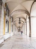 Ministerio da Justicia on Praca do Comercio in Lisbon. Arcade in Ministerio da Justicia Justice Ministry on Praca do Comercio Commerce Square in Lisbon, Portugal Stock Images