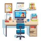 Ministerio del Interior con un ordenador ilustración del vector