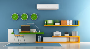 Ministerio del Interior minimalista con el ordenador portátil, la impresora y el estante para libros en la pared - representación libre illustration