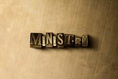 MINISTERIUM - Nahaufnahme des grungy Weinlese gesetzten Wortes auf Metallhintergrund Lizenzfreies Stockbild