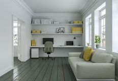 Ministero degli Interni giallo bianco moderno con la rappresentazione di interior design 3d del sofà Fotografia Stock